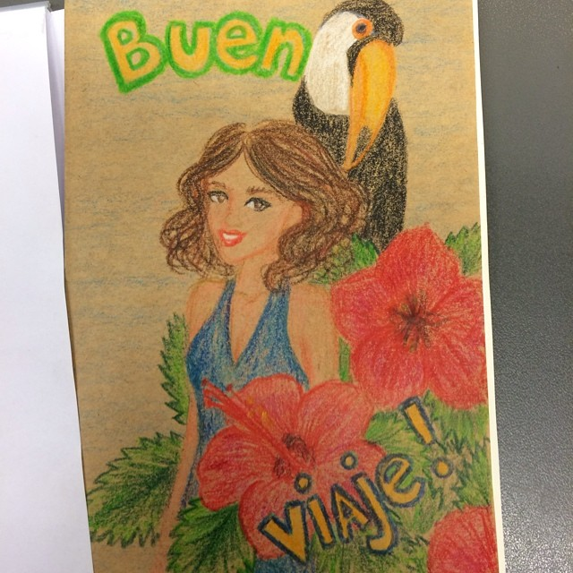 Buen viaje, postcard I made for a friend
